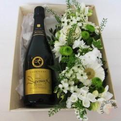 coffret cadeau champagne et fleurs