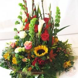 Coussin deuil de fleurs champêtres jardin de campagne La Ronde des Fleurs