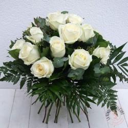 Bouquet de roses blanches avalanche -la  ronde des fleurs